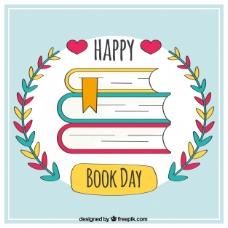 有花卉细节的快乐读书日的背景