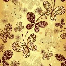 漂亮金色蝴蝶背景图