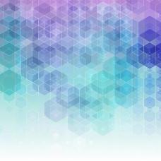摘要背景与蓝色和紫色的六边形