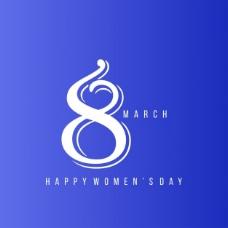 妇女节,蓝色背景