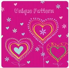粉红线条心形图案