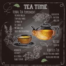 彩绘茶元素黑板画矢量素材