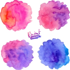 蓝色和紫色晕染水墨图片
