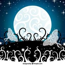 蝴蝶的月亮装饰背景
