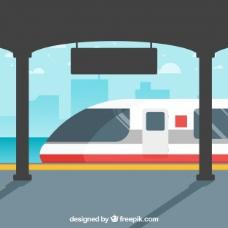 车站的火车场景