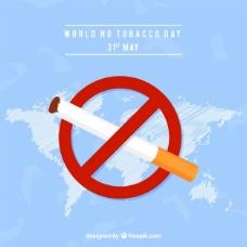 世界无烟日背景与禁止标志