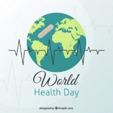 世界背景与世界卫生日的创可贴