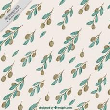 橄榄和水彩叶子的装饰背景