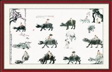 中国风山水水墨风景牧童