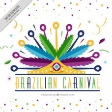 多彩的背景装饰巴西狂欢节冠