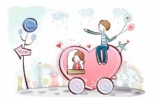 卡通爱心车上的情侣背景图