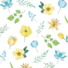 水彩花黄色和蓝色的花