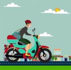 骑摩托车的女人背景图