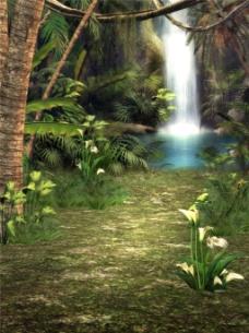 山河瀑布风景H5背景