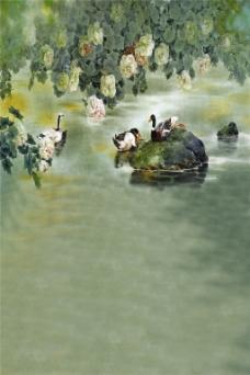 湖面鸳鸯花朵H5背景
