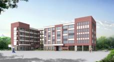 简约中学现代建筑教学楼效果图