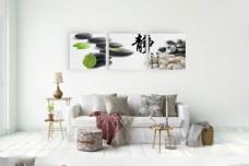 绿叶与鹅卵石家居装饰挂画高清图片
