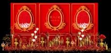 欧式红金婚礼迎宾区效果图