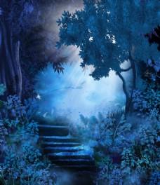 夜间童话森林小路玄关背景墙装饰画