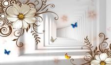 梦幻抽象花朵3D立体电视背景墙
