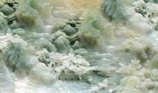 新中式玉雕山水壁画电视背景墙