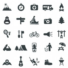 简约黑色登山远足icon矢量