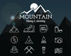 黑白线条登山远足徽章设计矢量
