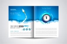蓝色白云火箭画册图片