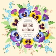 唯美紫色蓝色花环婚庆请柬高清矢量设计素材