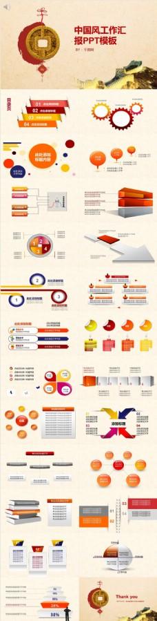 中国风长城工作汇报PPT模板