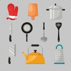 各种卡通厨房用品免抠png透明图层素材