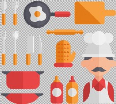各种厨房用品免抠png透明图层素材