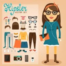 时尚女孩与各种配件