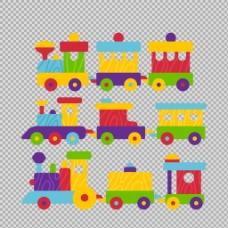 手绘彩色可爱火车插图免抠png透明素材
