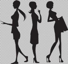 购物女人剪影免抠png透明图层素材