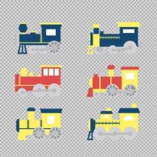 手绘各种火车插图免抠png透明图层素材