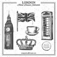 伦敦手绘元素集