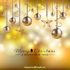 金色圣诞球背景