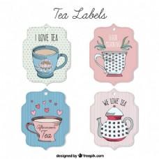 简略可爱的茶标签