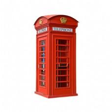 手绘红色电话亭元素