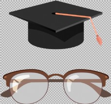 毕业帽子眼镜免抠png透明图层素材