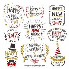 手绘标签的新年收藏