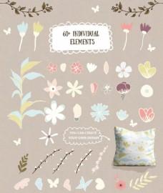 春天小清新花朵植物png矢量设计素材