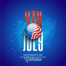 红色和白色文本7月4日与美国国旗按钮闪亮的蓝色背景为独立日庆祝活动。