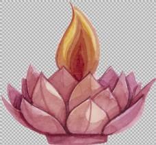 手绘荷花莲花免抠png透明图层素材
