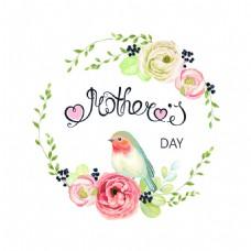 母亲节装饰树环卡通小鸟海报矢量设计素材