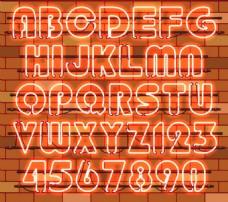 36个橙色霓虹灯字母和数字矢量素材