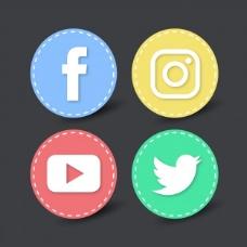 社交网络的4个圆形图标