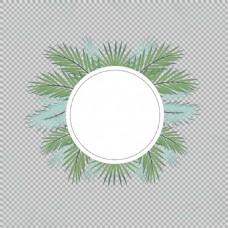 绿色叶子圆形花边免抠png透明图层素材