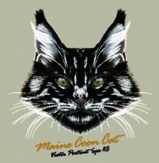 黑色帅气宠物猫头像品种矢量